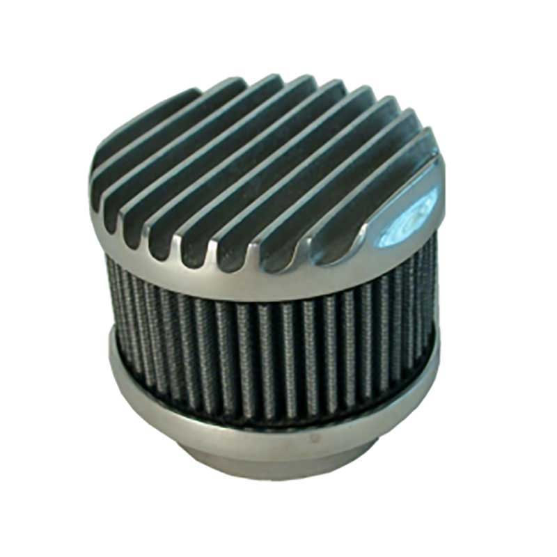 Custom Automotive Air Cleaners : Round polished aluminum finned top air cleaner wirth s